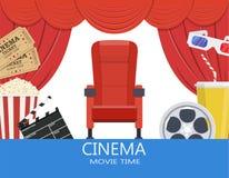 Dranken en popcorn, glazen voor film Royalty-vrije Stock Afbeelding