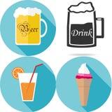 Dranken en voedsel Royalty-vrije Stock Foto's