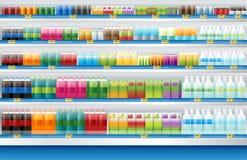 Dranken voor verkoopvertoning op plank in supermarkt Royalty-vrije Illustratie