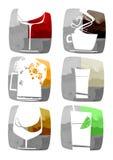 Drankenpictogrammen Stock Afbeeldingen