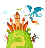 Draon and castle. Illustration of a blue gragon and brave knight and princess Royalty Free Stock Images