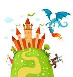 Draon et château illustration stock