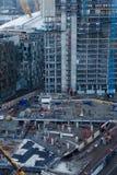 Drapacz chmur budowy plac budowy w Lonon Docklands Odgórny ae Fotografia Stock