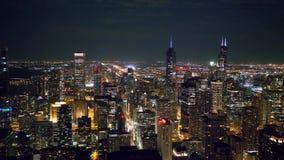 Drapacz chmur Chicagowski widok z lotu ptaka nocą zbiory