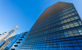 Drapacz chmur fasada budynki biurowe berlin sylwetka szklani nowożytni drapacz chmur Fotografia Stock