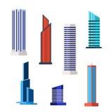 Drapacz chmur ikony ustawiać w szczegółowym mieszkanie stylu nowoczesne stary wektor Obrazy Royalty Free