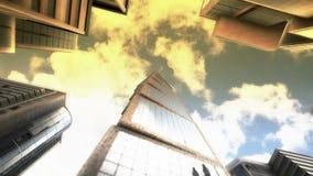 Drapacz chmur na nieba tle zbiory wideo
