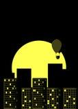 Drapacz chmur noc Panorama duży miasto w retro stylu Kolor żółty z czernią Gorące powietrze balon nad miastem wektor Zdjęcie Stock