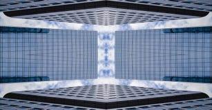 Drapacz chmur w symetrii, abstrakcjonistyczna architektura fotografia royalty free