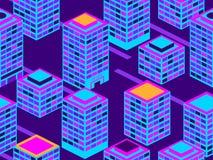 Drapacza chmur bezszwowy wzór Isometric miasto budynki, metropolia Neonowy kolor w stylu 80's wektor royalty ilustracja