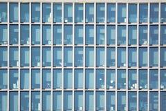 Drapacza chmur budynku biurowego fasada Błękitny brzmienie ramy tło i opróżnia kopii przestrzeń Fotografia Stock