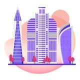 Drapacza chmur nowożytny miasto Budynki biurowi w centrum metropolia royalty ilustracja