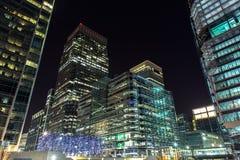 Drapacze chmur Canary Wharf nocą, Londyn, UK Obraz Stock