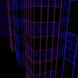 drapacze chmur dekorują z neonowymi światłami Wieloskładnikowy odbicie, 3d odpłaca się, 3d ilustracja Obrazy Stock