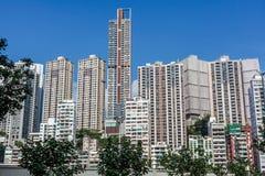 Drapacze chmur, linia horyzontu i pejzaż miejski nowożytny miasto duży chiński miasto, fotografia stock