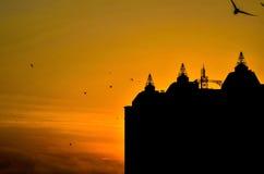 Drapacze chmur miasto przy zmierzchem Zdjęcia Royalty Free