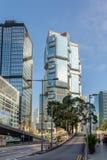 Drapacze chmur na głównej ulicie Hong Kong Zdjęcia Royalty Free
