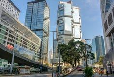 Drapacze chmur na głównej ulicie Hong Kong Obraz Stock