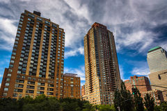 Drapacze chmur w Bateryjnego parka mieście, Manhattan, Nowy Jork Obraz Stock