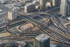 Drapacze chmur w Dubaj mieście i UAE burj Dubai khalifa punkt obserwacyjny uae widok Odgórny widok Zdjęcie Royalty Free