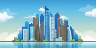Drapacze chmur w pejzażu miejskiego tle Śródmieście krajobrazowa wektorowa ilustracja Obraz Royalty Free