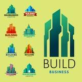 Drapaczy chmur budynków etykietki wierza miasta architektury odznaki biurowego domu mieszkania wektoru biznesowa ilustracja Obraz Stock
