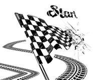 Drapeau à carreaux de dessin avec la voie de pneu Images stock