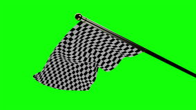 Drapeau à carreaux ondulant sur l'écran vert illustration de vecteur