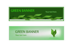 Drapeau écologique vert avec les lames vertes Photographie stock