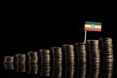 Drapeau éthiopien avec le sort de pièces de monnaie d'isolement sur le noir Photo stock