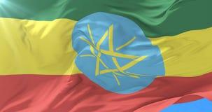 Drapeau éthiopien ondulant au vent avec le ciel bleu dans lent, boucle illustration libre de droits