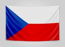 Drapeau accrochant de Tchèque République Tchèque Concept de drapeau national illustration de vecteur