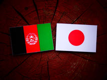 Drapeau afghani avec le drapeau japonais sur un tronçon d'arbre d'isolement Image stock