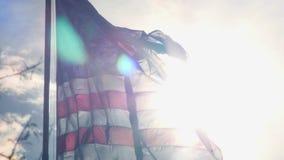 Drapeau américain écartant dans le vent fortement clips vidéos