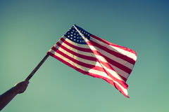 Drapeau américain avec la prise de bannière étoilée Photos libres de droits