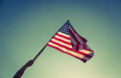 Drapeau américain avec la prise de bannière étoilée Photo libre de droits