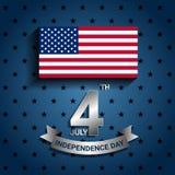 Drapeau américain avec le ruban pour pour le Jour de la Déclaration d'Indépendance des Etats-Unis Images libres de droits