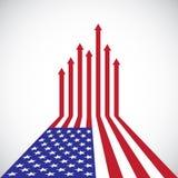 Drapeau américain créatif, flèches rouges, Photos libres de droits