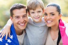 Drapeau américain de famille Image stock