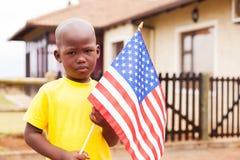 Drapeau américain de petit garçon Photos libres de droits