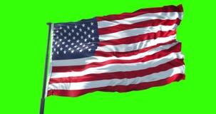 Drapeau américain des Etats-Unis avec le poteau, bannière étoilée, Etats-Unis d'Amérique sur le vert de clé de chroma illustration libre de droits