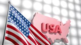 Drapeau américain des Etats-Unis dans la carte de l'Amérique banque de vidéos