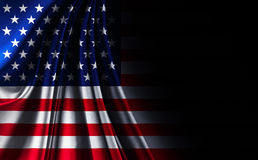 Drapeau américain des Etats-Unis de texture de tissu, sur le fond noir noir Photo libre de droits
