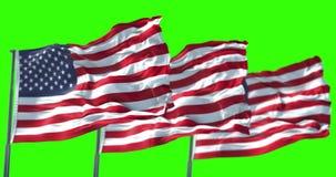Drapeau américain des trois Etats-Unis avec le poteau, bannière étoilée, Etats-Unis d'Amérique sur le vert de clé de chroma illustration stock