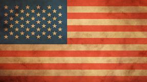 Drapeau américain des USA de vieux vintage au-dessus du parchemin de papier photos libres de droits