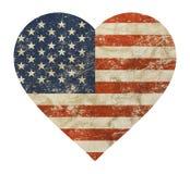 Drapeau américain des USA de vieux vintage grunge en forme de coeur illustration de vecteur