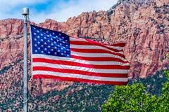 Drapeau américain en parc national, Etats-Unis photographie stock libre de droits