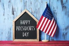 Drapeau américain et jour heureux de présidents des textes photographie stock libre de droits