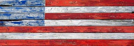 Drapeau américain modifié par planche en bois antique des USA Photo stock