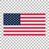 Drapeau américain ou icône de vecteur de drapeau des Etats-Unis sur le fond transparent illustration libre de droits
